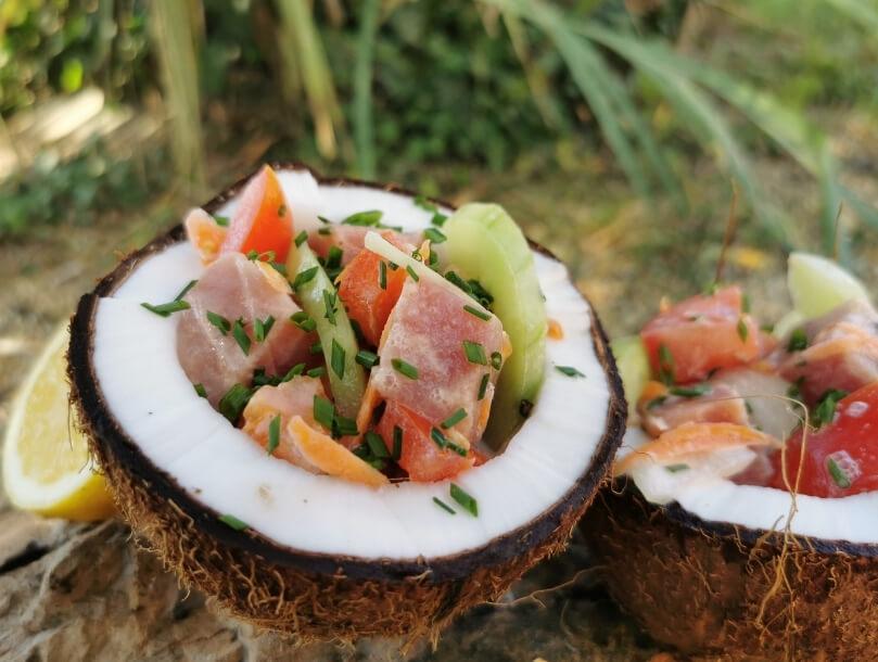 noix de coco poisson