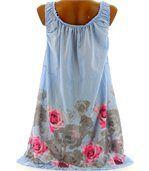 Robe  coton - ROSANNA - fleurs bleu ciel preview3