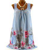 Robe  coton - ROSANNA - fleurs bleu ciel preview2
