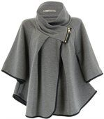 Cape manteau grande taille gris MATHILDA preview1