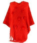 Poncho long pompons hiver ADELINE rouge preview1