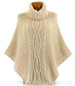 Poncho laine grosse maille beige ELODY preview2