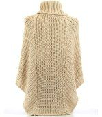 Poncho laine grosse maille beige ELODY preview5