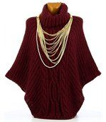 Poncho laine grosse maille bordeaux ELODY preview2