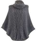 Poncho laine grosse maille gris foncé ELODY preview1