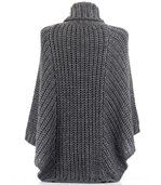 Poncho laine grosse maille gris foncé ELODY preview5
