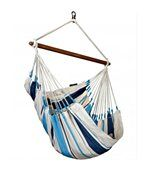 Hamac chaise simple Caribena blanc bleu preview1