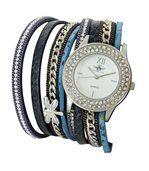 Très Belle Montre Femme Cuir Bleu Double-Bracelet M. JOHN 1080 preview1