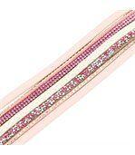 Bracelet Fantaisie Femme Cuir Rose Incrusté DAPHNEE 1194 preview1