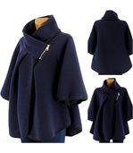 Cape manteau veste grande taille bleu marine matil preview2