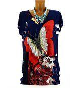 Tee shirt  drapée thania papillon bleu marine preview2