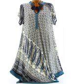 Robe asymétrique été bleu pétrole CORALIE preview2
