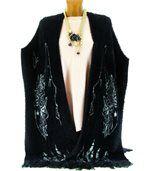Gilet long poncho laine poils noir COCTEAU preview2