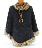 Cape manteau laine imitation fourrure ROSETTA gris preview2