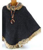 Cape manteau laine imitation fourrure ROSETTA gris preview4