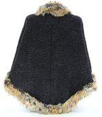 Cape manteau laine imitation fourrure ROSETTA gris preview5