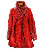Manteau laine bouillie rouge VIOLETTA preview2