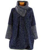 Manteau laine bouillie bleu VIOLETTA preview2