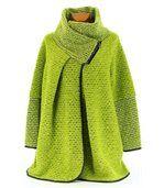 Manteau laine bouillie vert VIOLETTA preview2