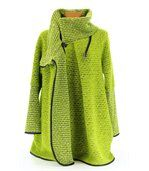 Manteau laine bouillie vert VIOLETTA preview5