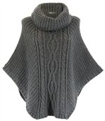 Poncho mohair grosse maille gris foncé ELODY preview1