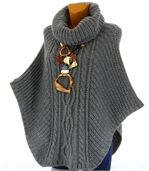 Poncho mohair grosse maille gris foncé ELODY preview5