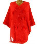 Poncho long pompons hiver ADELINE rouge preview4