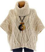 Pull poncho mohair hiver SORENZA beige preview2