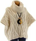 Pull poncho mohair hiver SORENZA beige preview5