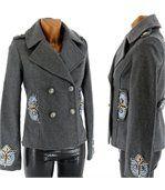 Parka veste brodé laine  bijoux - HIBOUX -  GRIS preview1