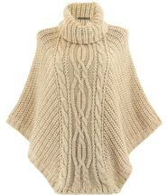 Poncho laine grosse maille beige ELODY