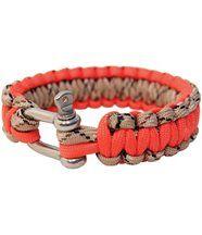 Bracelet en paracorde orange avec manille métal Bushcraft