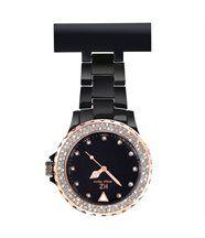 Jolie Montre Infirmière PVC Noir Rosé Diamants Cz KRAZY 35