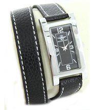 Belle montre femme cuir noir double-bracelet michael john 2227
