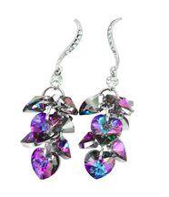 Boucles d oreilles pour femme argenté cristaux swarovski elements coeur 1096