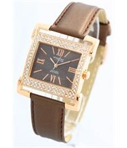 Montre Femme Cuir Marron Brillant ATTRACTIVE Q et Q CITIZEN 138