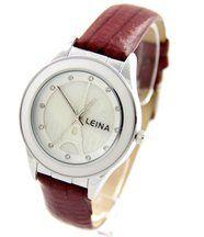 Montre femme bracelet cuir violet leina 1348