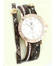 Montre de femme cuir marron diamants cz hippie 238