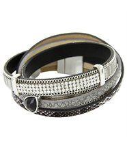Bracelet de Femme Cuir Gris Incrusté DAPHNEE 10