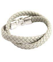 Magnifique Bracelet Femme Double Cuir Gris Daphnée 434