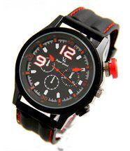 Grosse montre pour homme en silicone noir v6 2094