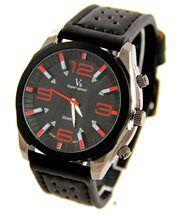Montre Homme Bracelet Cuir Noir V6 1152