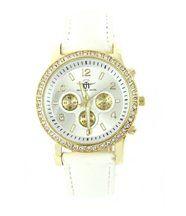 Montre femme cuir en blanc diamants cz michael john 155