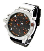 Montre homme silicone noir triple cadrans so big 1893