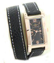 Montre Femme en Cuir Noir Double-Bracelet MICHAEL JOHN 2224