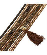 Bracelet Original Femme Cuir Marron Incrusté DAPHNEE 1134