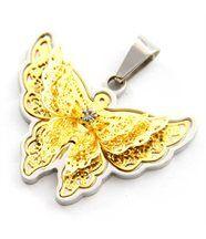 Pendentif papillon femme acier doré daphnee 547