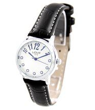 Montre femme cuir noir diamants cz wave 178