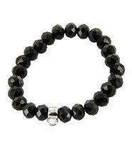 Bracelet femme cuir perles noires porte-charm daphnee 597
