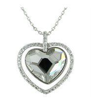 Joli pendentif femme argenté cristaux swarovski elements coeur 669